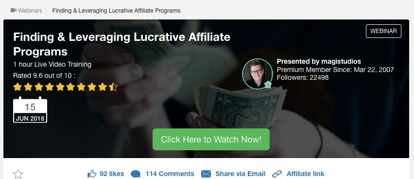 Jay's training at Wealthy Affiliate