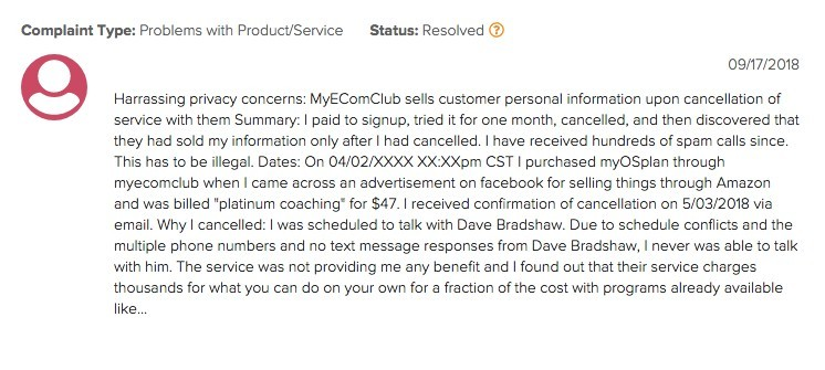 My Ecom Club Complaint 2