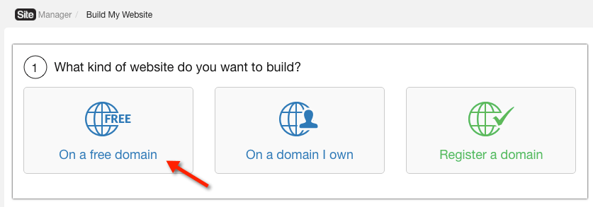 Build a site using a free domain name