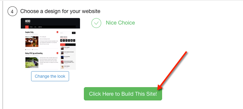 Just click the button to build your site