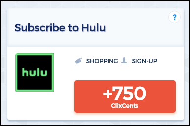 Join Hulu and earn ClixCents