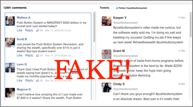 Fake twitter and facebook feeds