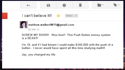 Push Button System email testimonial also fake