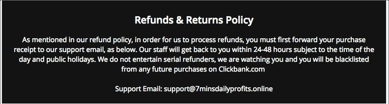 7 Minutes Daly Profits refund policy is shady