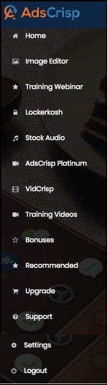AdsCrisp menu inside the member's area