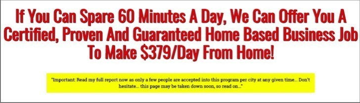 The My Success Home Plan scam says you can make $379 / day.