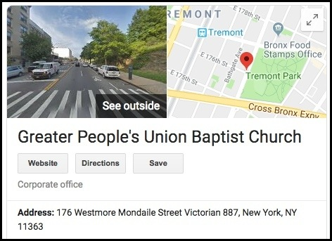 CashLoad's address is where a church is.