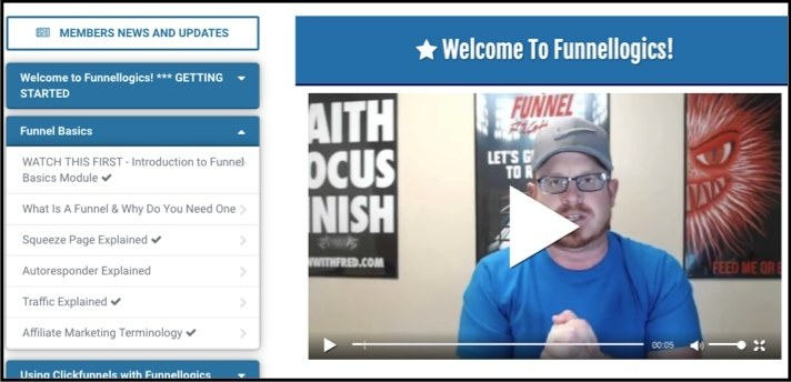 The Funnellogics member's area is easy to navigate