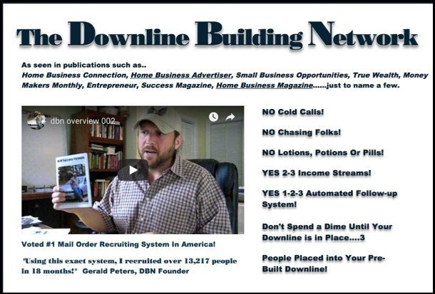 The Downline Building Network's website homepage