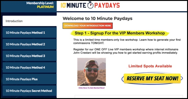 10 Minute Paydays Member's Area