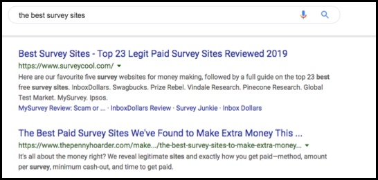 Google search for best survey sites.