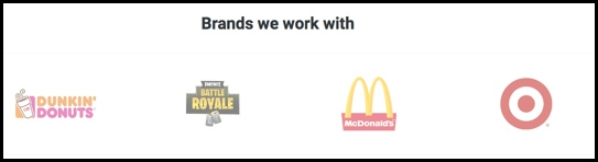 These are the brands that Paid 4 Clout claims to work with.