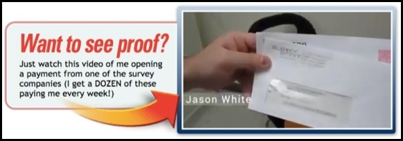 Jason apparently shows up proof that he makes money with surveys.