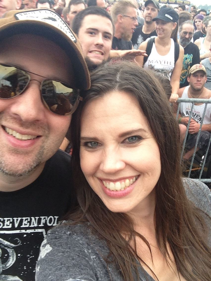 At a rock festival with a photobomber.