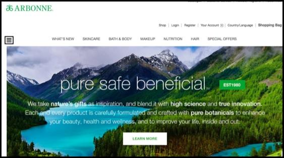 Arbonne homepage