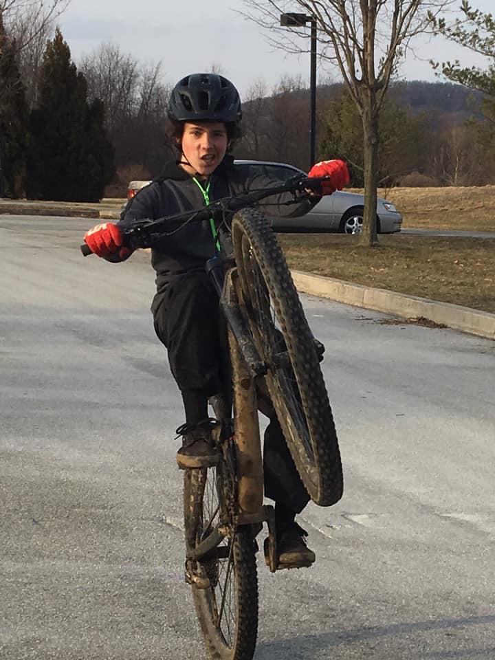 Frankie mountain biking.