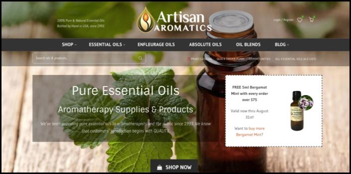 Artisan Aromatics homepage.