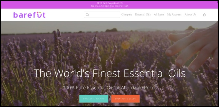 Barefut essential oils homepage.