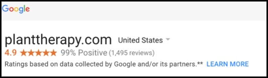 Plant Therapy has a 4.9 Google rating.