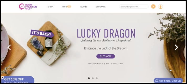 Rocky Mountain essential oils homepage.