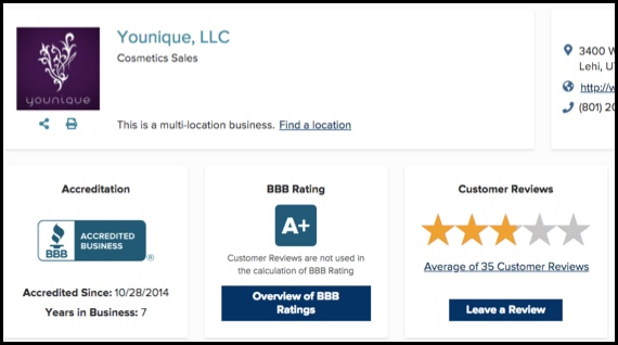 The BBB gives Younique an A+ rating.