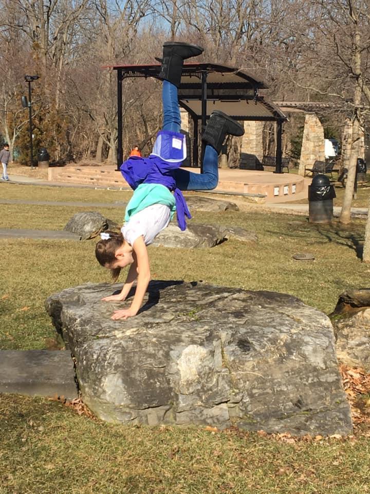 Lia jumping around.