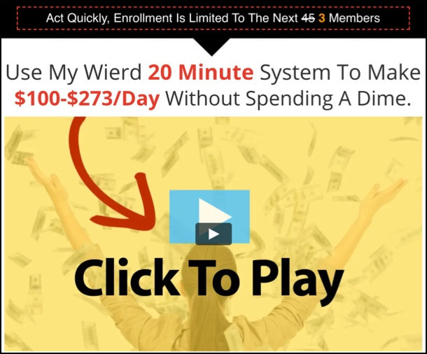 20 Minute Cash System sales page