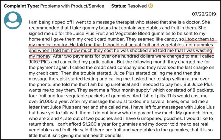 Juice Plus+ Complaint
