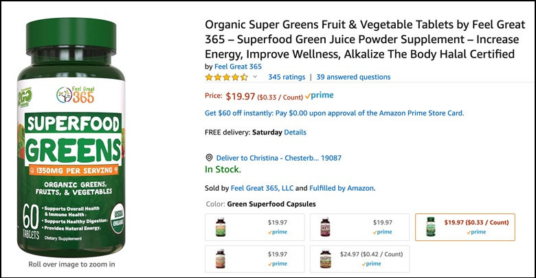 Supergreens tablet is less expensive than Juice Plus+